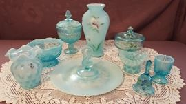 Soft Blue Shades of Fenton and other Glass