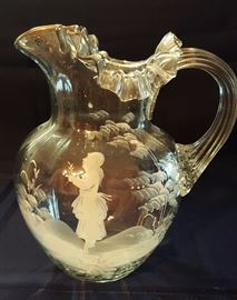 Antique Blown Glass Mary Gregory Pitcher