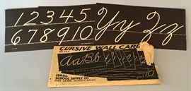 Vintage Ideal School Supply Cursive Wall Card