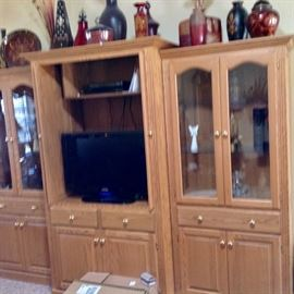 Beautiful Custom Made Oak Entertainment Center/Curio Cabinets.  Three Separate Pieces which can be sold separately.  ALSO Flat Screen TV is for sale.