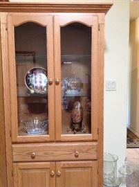 One section of the Solid Oak Custom 3 piece Entertainment Center/Curio Cabinet.  Pieces can be sold individually.