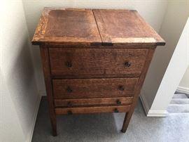 Antique oak sewing cabinet