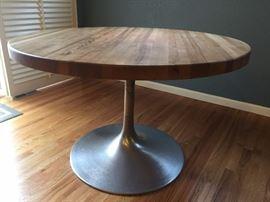 Fabulous vintage butcher block table on chrome tulip base