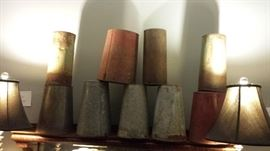 Many vintage maple sap buckets