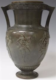 Classical Bronze Urn, with copper liner, 19th century. View full catalog at www.slawinski.com