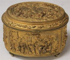 """Lot 3012: Victorian Cast Metal Gilt Dresser Box; 5 1/2"""" View full catalog at www.slawinski.com"""
