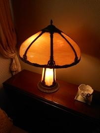 Slag Glass Lamp, Vintage. Beautiful condition. Eight panel shade.