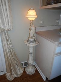 Marble with Alabaster Lamp on pedestal