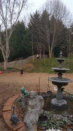 3 tier Fountain and garden statuary