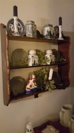 Lovely decorative plates and wooden shelving