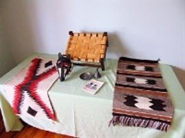 Native American Decor & Wood/Leather Stool
