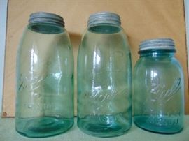 Antique blue Ball Mason Jars with original tin caps