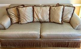 Henredon 2 Cushion Sofa and 5 Matching Pillows with Bullion Fringe at Base
