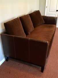 Bernhardt Chocolate Brown Leather Sofa with Velvet Bench Cushion and 3 pillows (88'' x 39'' x 40'')