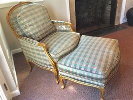 Henredon French Provincial Chair and Ottoman (Chair: 33'' x 35'' x 41'') (Ottoman: 33'' x 24'' x 18'')