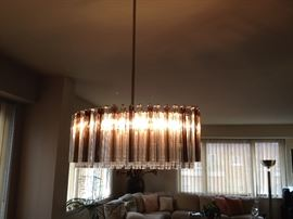 Contemporary Crystal Chandelier with Graduated Crystal Prisms up to 12'' long (31'' x 17'')