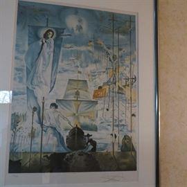 "Salvador Dali ""Discovery of America"" Facsimile Signed Art Lithograph"