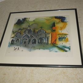 "Salvador Dali ""Venice reconstruction"" Facsimile Signed Art Lithograph"