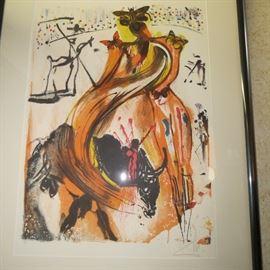 "Salvador Dali ""Papillions Torreador"" Facsimile Signed Art Lithograph"