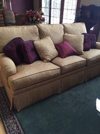 Ethan Allen sofa gold toned