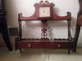 Mahogany hanging shelf, this one with clock insert and two drawers