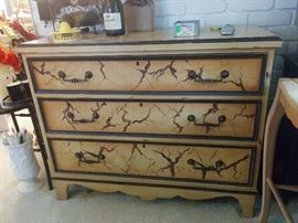 Three-drawer painted chest with marbleized finish by Hickory-White