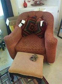Wonderful tufted back chair; small Victorian foot stool by Kravet