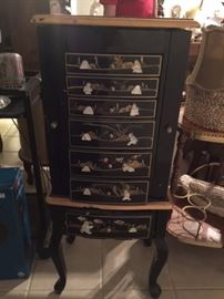Mother of pearl oriental jewelry chest, need repair