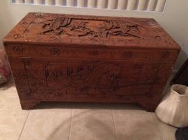 Large Carved oriental chest
