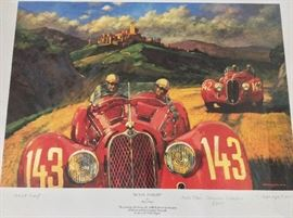 "Alfa Romeo Framed Artist's Proof. ""In Hot Pursuit"" by Barry Rowe. Signed."