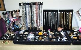 ASSORTED FASHION JEWELRY. NO GOLD, SOME SILVER