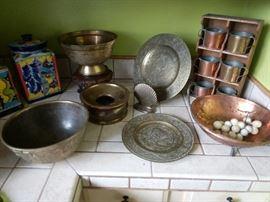 Decorative display of metal ware