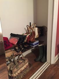 Vintage handbags and L.L. Bean Rain boots