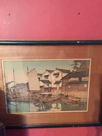 Antique Wood trimmed Asian painting.