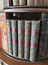 Many volumes of antique books.