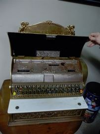 inside Antique Cash register
