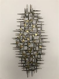 """Super cool MCM brutalist nail wall art piece.  Approximately 36"""" x 19 1/2"""""""
