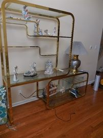 Marshall Fields Brass/Glass 2 Piece Open Curio with Glass Shelves