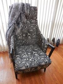 Crate Barrel Black/Silver Arm Chair