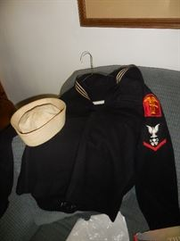 WW2 Dress Blue Wool Top with Sailor hat