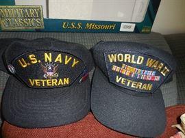 WW2 Navy Vet Caps, Few Jackets