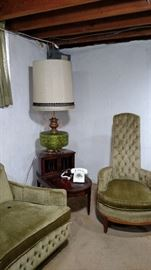 Mid Century Sofa with 2 matching chairs. There are 2 mahogany side tables with leather tops along with matching lamps