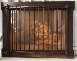"Amazing antique print of lion in oak ""cage"" frame (35"" x 45"")"