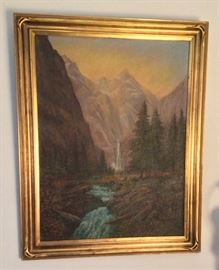 "1929 waterfall painting, oil on board, framed size 22"" x 28""."