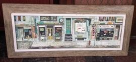 "1957 New York City street scene painting of storefronts by Margaret Layton, gouache (?) on board, 15"" x 36"" overall"