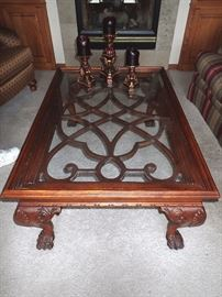 ORNATE CARVED WOOD COFFEE TABLE WITH GLASS TOP