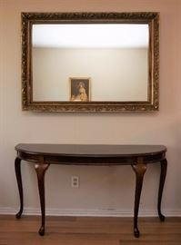 Mahogany demilune entry table and nice rectangular mirror