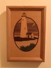 "Hudson River Inlay Wooden Marquetry by Jeff Nelson ""Nantucket, MA. Lighthouse"""