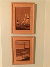 "Hudson River Inlay Wooden Marquetry by Jeff Nelson ""Boat on the Water""&""Spinnaker Point"""