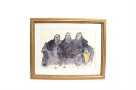 """Original Watercolor and Ink Painting Signed McKay: An original watercolor and ink painting signed McKay. The painting depicts three Greek Orthodox nuns, one of which is holding a basket. Painted in a wet on wet method with details drawn in ink. The painting is signed and dated in the lower right corner """"McKay '74"""". It is matted and framed behind glass in a gold tone frame with wire on the back for hanging."""